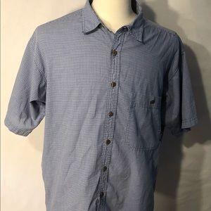 PATAGONIA Mens Button Front Blue White LG Shirt